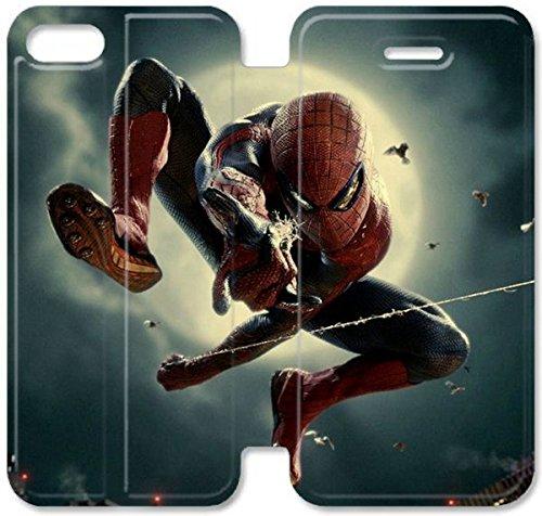 Flip étui en cuir PU Stand pour Coque iPhone 5 5S, bricolage cas de téléphone cellulaire 5 5S The Amazing Spider-Man Spider-Man Vol Art W6D1HB Coque iPhone Coque Cases Leather Wallet