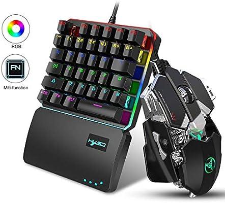 FOONEE Teclado y Gaming Ratón para PS4 Una Sola Mano Ergonomica, LED Retroiluminación 35-Key Mini Portatil Teclado Profesional para Xbox One, PS4, PS3, Switch y Windows PC: Amazon.es: Hogar