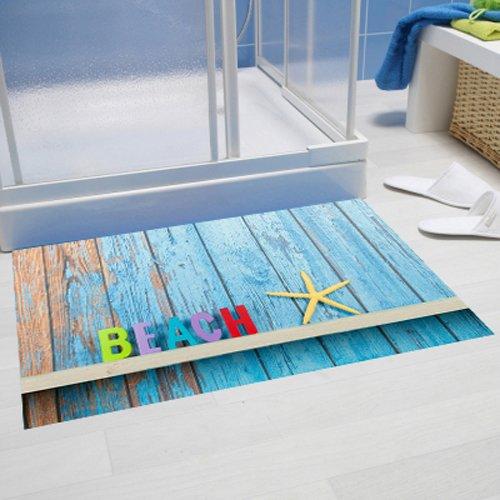 poli/éster, 60/x 40/cm Papillon de Playa en Bleu Super Absorbente Alfombra de ba/ño