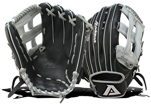 Akadema Prosoft Elite Series Baseball Outfielders Gloves, Black/Silver, Left Hand by Akadema