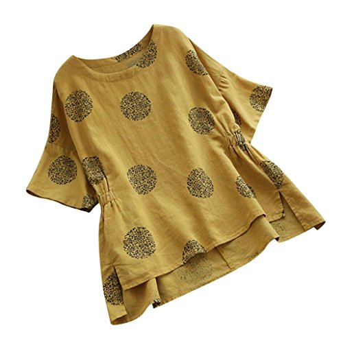 Women Short Sleeved Linen Vintage Plus Size Dot Printed Loose Shirt Blouse Yellow