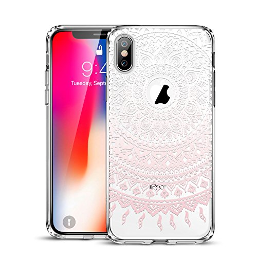 ESR Case Compatible for iPhone X/XS, Slim Fit Floral Totem Case [Anti Scratch PC Back with Soft Bumper][Supports Wireless Charging] Protective Case for iPhone 5.8(Pink Manjusaka)