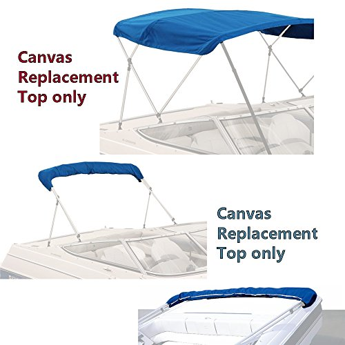 "SavvyCraft BIMINI TOP BOAT COVER CANVAS FABRIC BLUE 4 BOW 96"" L 54"" H 91""-96"" W"