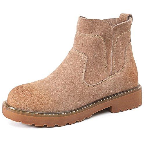 GIY Womens Winter Warm Ankle Booties Fashion Round Toe Low Heel Elastic Suede Chelsea Short Walking Boot Khaki