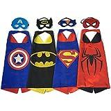 Superhero Dress Up Costumes - 4 Satin Capes and 4 Felt Masks
