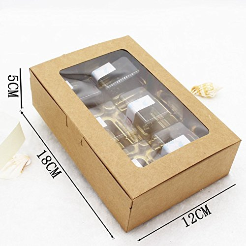 Amazon.com: Best Quality - Gift Bags & Wrapping Supplies - 18x12x5cm Brown Kraft Paper Box with Window Gift Box cajas de Carton Packaging Cookie Macaron Box ...