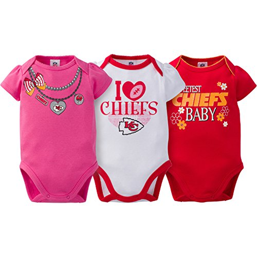NFL Kansas City Chiefs Girls Short Sleeve Bodysuit (3 Pack), 3-6 Months, Pink ()
