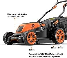 Cortacésped eléctrico Tacklife 1600 W con 38 cm de ancho de ...