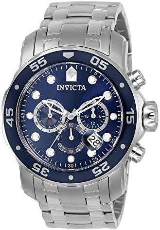Invicta 0070 Pro Diver men's collection analogue Chinese quartz chronograph silver / blue stainless steel watch