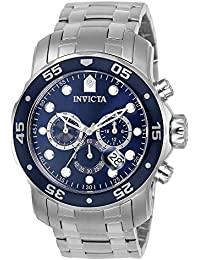 Men's 0070 Pro Diver Collection Analog Chinese Quartz Chronograh Silver-Tone/Blue Stainless Steel Watch