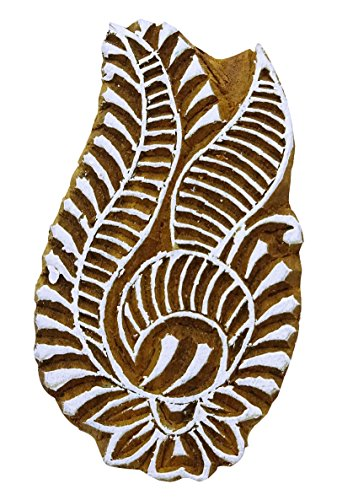 Paisley Border Stamp Textile Printing Block Brown Handcarved Stamp Wooden by Knitwit (Image #2)