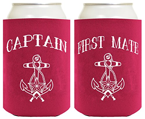 Funny Can Coolie Captain And First Mate 2 Pack Can Coolies Magenta