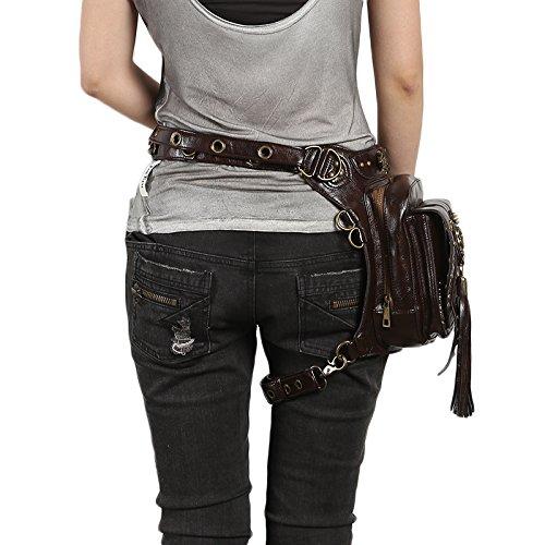 Steel Master Steampunk Retro Hüfttaschen für Damen Herren Punk PU Leather Bauchtasche Taschen Holster Bags