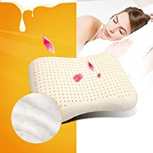 Ailovyo Latex Foam Pillow Cervical Orthopedic Standard Adult Queen Size Natural with 100% Ventilated Curve Design Neck Support