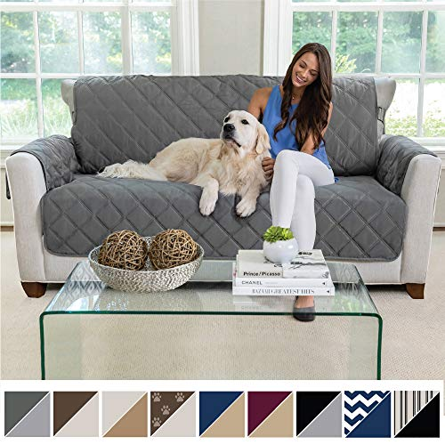 MIGHTY MONKEY Premium Reversible Sofa Slipcover, Seat Width to 62 Inch Furniture Protector, 2 Inch Elastic Strap, Washable Couch Slip Cover, Protect From Kids and Pets, Small Sofa, Charcoal Light Gray