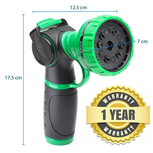 SC Water Metal Garden Hose Nozzle Anti Leak Heavy Duty- 10 Pattern Anti Rust No Squeeze Sprayer -High Pressure Attachment- for Car Wash Water Plants Include Brass Nozzle +1 Year Manufacturer Warranty