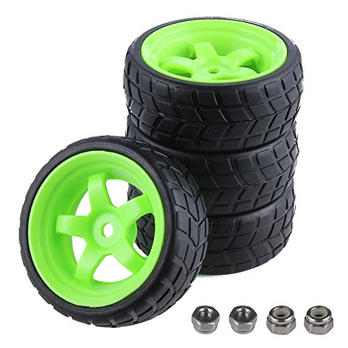 4pcs-Pack 26mm Width RC Rubber Tires Plastic Wheel Rims 12mm Hub Mount For Redcat HSP 1:10th On Road Car Touring (Car 10th Touring)