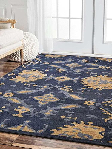 Rugsotic Carpets Hand Knotted Morocco Woolen 6' X 9' Area Rug Floral Blue N00908
