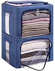 FHSQX Storage Bins, Large Capacity Clothes Bag Organizer with Window & Carry Handles, Foldable Stackable Container Set, Closet Organization for Comforters (2-PACK)