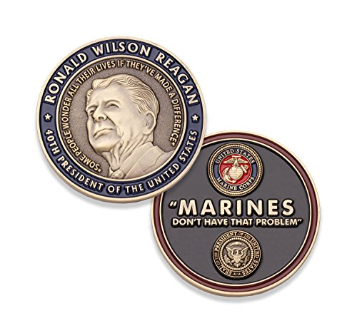 Marine Corps Challenge Coin - Ronald Reagan U.S. Marine Quote Military Coin - Designed By Marines For Marines - Officially Licensed (Marine Challenge Coin)