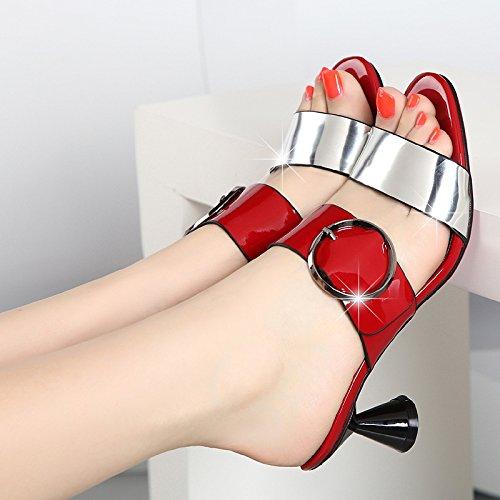 AWXJX AWXJX AWXJX Frauen Flip Flops High Heel Schnalle Dick mit Atmungsaktiv Rot Ein 6 US 36 EU 3.5 UK 1732b7