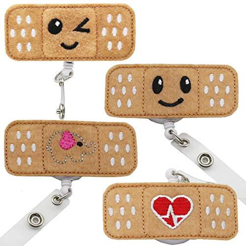 QICI Retractable Nurse Badge Reel Holder RN Badge Bandaid Badge Reel Holder Felt Badge Reel for Nurses, Students & Teachers Perfect Nurse Gifts (4 Pack)