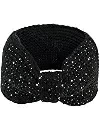 Women's Wide Knitted Headband - Sparkle Bow