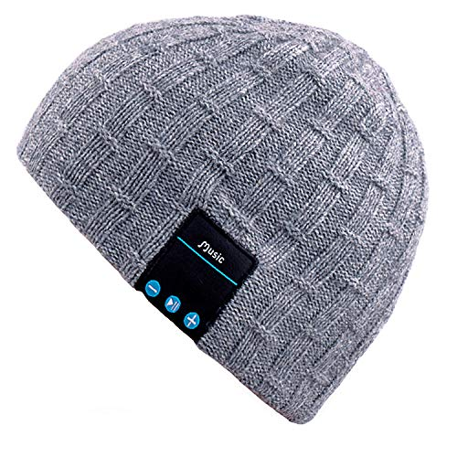 (Mydeal Rechargeable Bluetooth Beanie Warm Soft Double Knitted Trendy Short Skully Hat Cap W/ Wireless Headphone Headset Earphone Speakerphone Mic for Sports Skating Hiking Camping Christmas Gift- Gray )