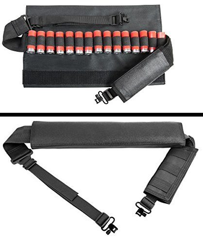 Ultimate Arms Gear 12 Gauge/Shotgun 15-Round Shotshell Ammo Padded Swivel Stud Sling, Black Winchester 1200/1300/Super X SXP X3