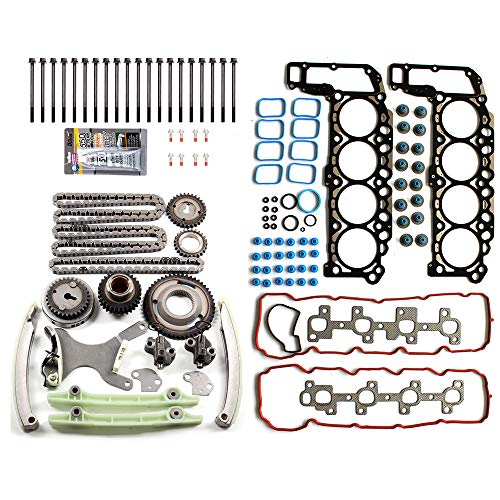 OCPTY Timing Chain Head Gasket Set Bolts Kit for Dodge Dakota/Durango/Ram 1500 Jeep Commander/Grand Cherokee Mitsubishi Chrysler 4.7L 04 05 06 - 06 Chain