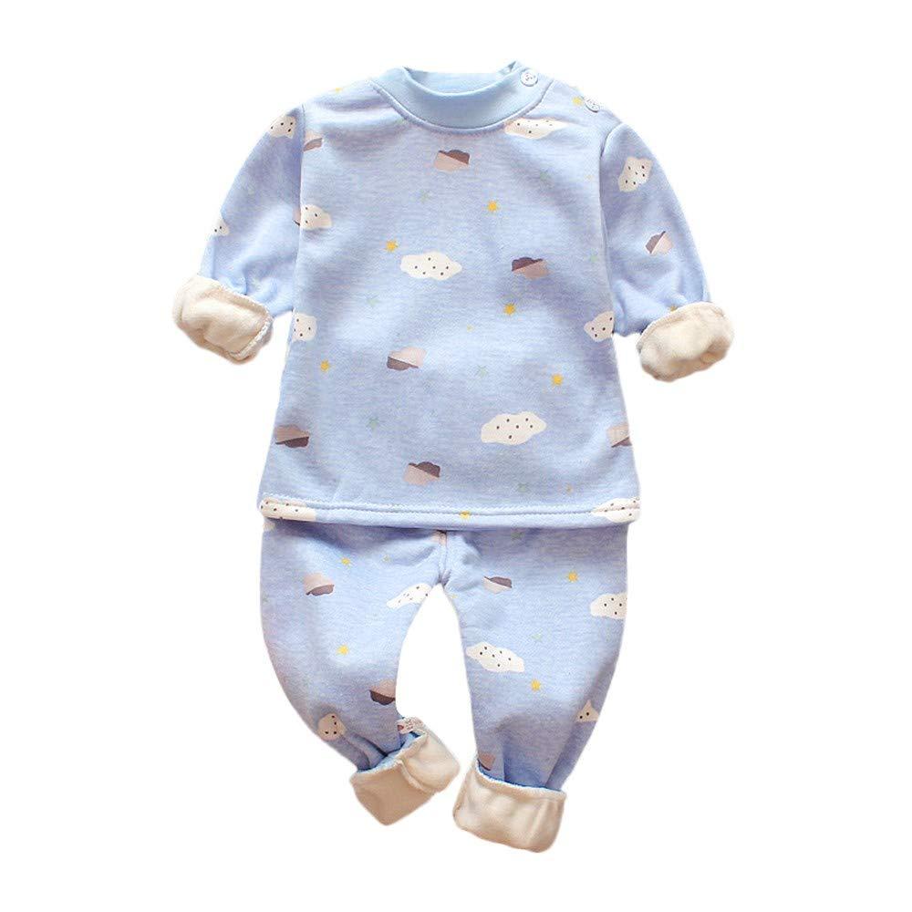 Baby Girls Boys Pyjamas Set, Toddler Long Sleeve Cute Parachute Print Thick Cotton Warm Sleepwear Nightwear Pjs Set for 0-3 Years Old (Light Blue1,2-3Years)