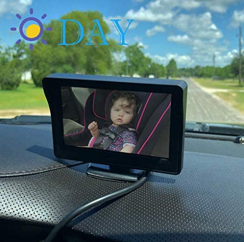 51fhsBXOFAL. AC - Baby-Mirror For-Car Back-Seat - Baby Car Camera With Night Vision, View Infant In Rear Facing Seat With 4.3-Inch HD Display, Observe The Baby's Every Move At Any Time While Driving