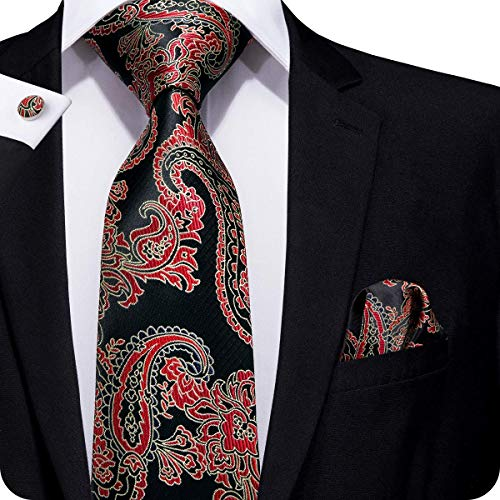 Hi-Tie Men Black Red Floral Paisley Tie Cufflinks and Pocket Square Tie Set