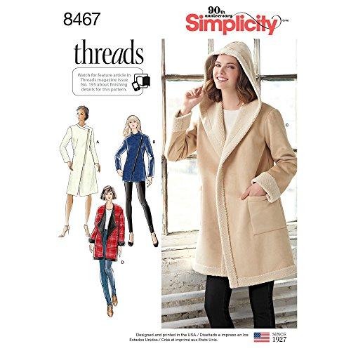 Simplicity Creative Patterns US8467U5 Tops, Vest, Jackets, Coats, U5 (16-18-20-22-24)