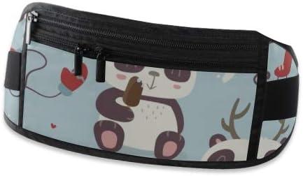 Cartoon Style Cute Christmas Panda Running Lumbar Pack For Travel Outdoor Sports Walking Travel Waist Pack,travel Pocket With Adjustable Belt