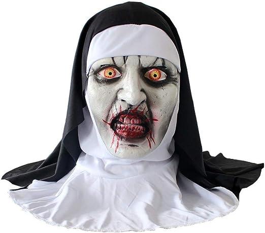 BaojunHT Disfraz de Monja de Halloween para Mujer, máscara de ...
