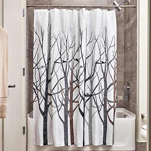 "iDesign Fabric Forest Shower Curtain for Master, Guest, Kids', College Dorm Bathroom, 72"" x 72"", Black and Gray"