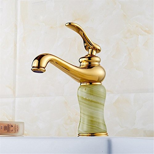HomJo Basin Faucets Gold Finish Single Lever Basin Faucet Deck Mount Bathroom Sink Mixer Tap faucet for bathroom , 2 (Gooseneck Deck Faucet Mount Nozzle)