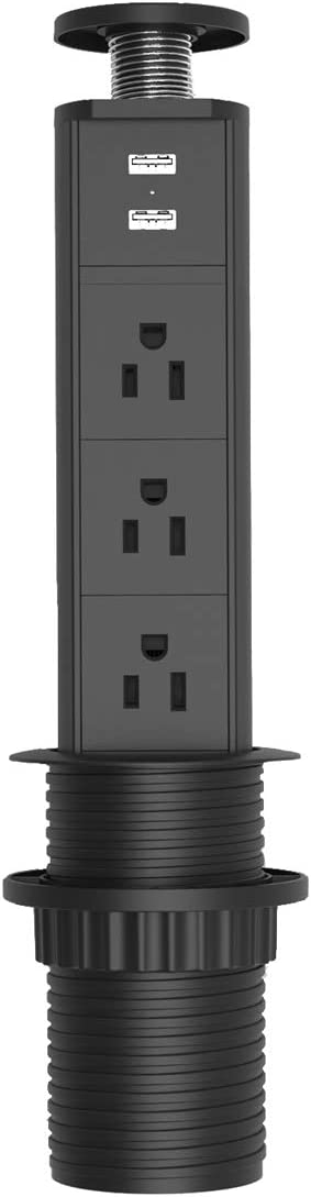 Pulling Pop Up Power Outlet with USB, Recessed Pop-Up Power Socket with 3 AC Plugs, 2 USB, Retractable Power Strip Charging Station Connect with 6.23 ft Power Cord, 120V 12A 1440W(2.5 inch)