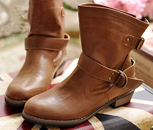 Easemax Women's Stylish Buckle Strap Round Toe Low Chunky Heel Ankle High Boots Brown bFca5kWcSH