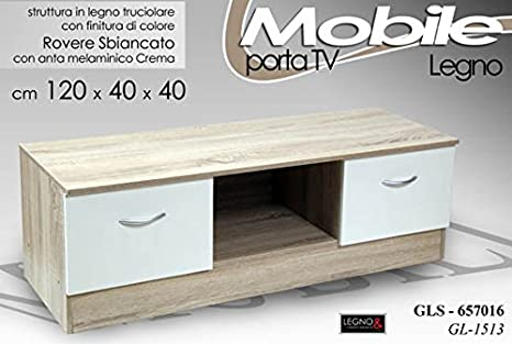 MOBILE PORTA TV IN LEGNO ROVERE SBIANCATO 120X40X40 CM: Amazon.it ...