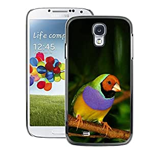 A-type Arte & diseño plástico duro Fundas Cover Cubre Hard Case Cover para Samsung Galaxy S4 (Parrot Tropical Bird Purple Green Jungle)