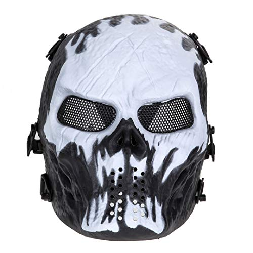 (Skull Airsoft Mask Paintball Full Face Exercise Mask Training Face Mask Cover Workout Mask For Sports Games Halloween Cosplay)