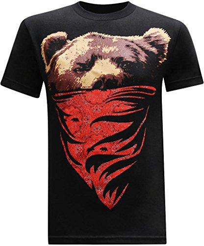 tees geek California Republic (Red Bandana Bear) Men's T-Shirt - (Medium) - Black