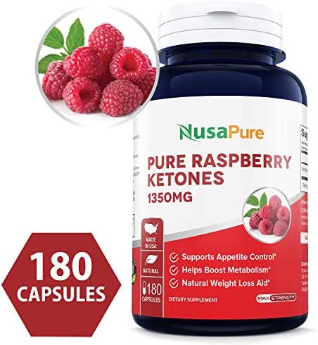 Raspberry Ketones 1350mg (Non-GMO & Gluten Free) All Natural Weight Loss Supplement, Max Strength Plus Appetite Suppressant Diet Pills - 450mg Per Capsule