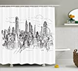 New York Shower Curtain by Ambesonne, Hand Drawn NYC Cityscape Tourism Travel Industrial Center Town Modern City Design, Fabric Bathroom Decor Set with Hooks, 70 Inches, Black White