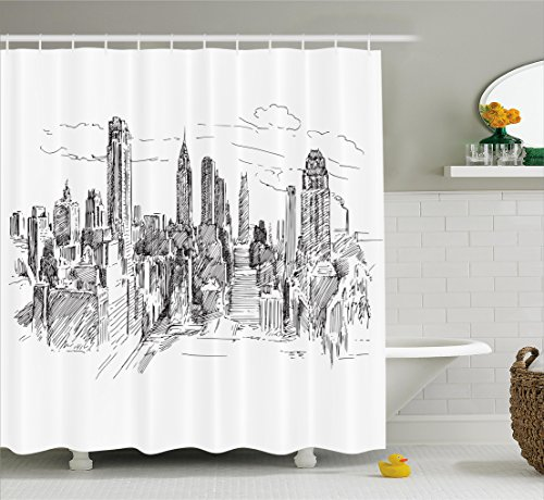 Ambesonne New York Shower Curtain, Hand Drawn NYC Cityscape Tourism Travel Industrial Center Town Modern City Design, Fabric Bathroom Decor Set with Hooks, 70 Inches, Black White