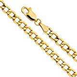 14k Yellow Gold Hollow Men's 3.5mm Cuban Curb Chain Necklace with Lobster Claw Clasp - 24''
