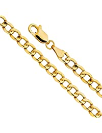 14k Yellow Gold Hollow Men's 3mm Cuban Curb Chain Necklace with Lobster Claw Clasp