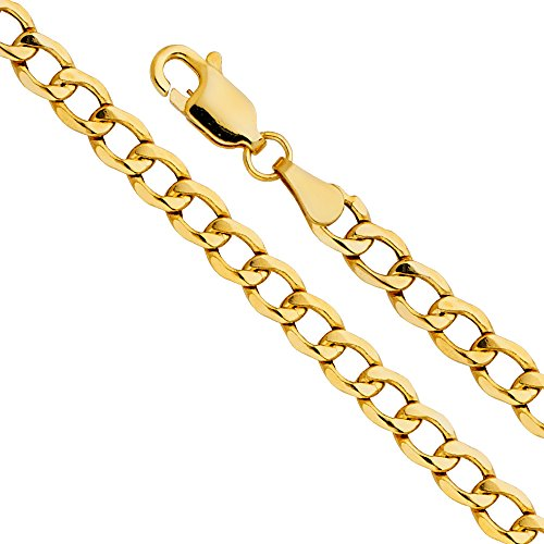 14k Yellow Gold Hollow Men's 3.5mm Cuban Curb Chain Necklace with Lobster Claw Clasp - 24
